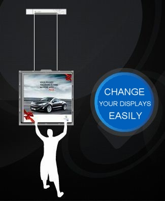 BLUESPIDER Electric display hanger - Hanging displays without lift.